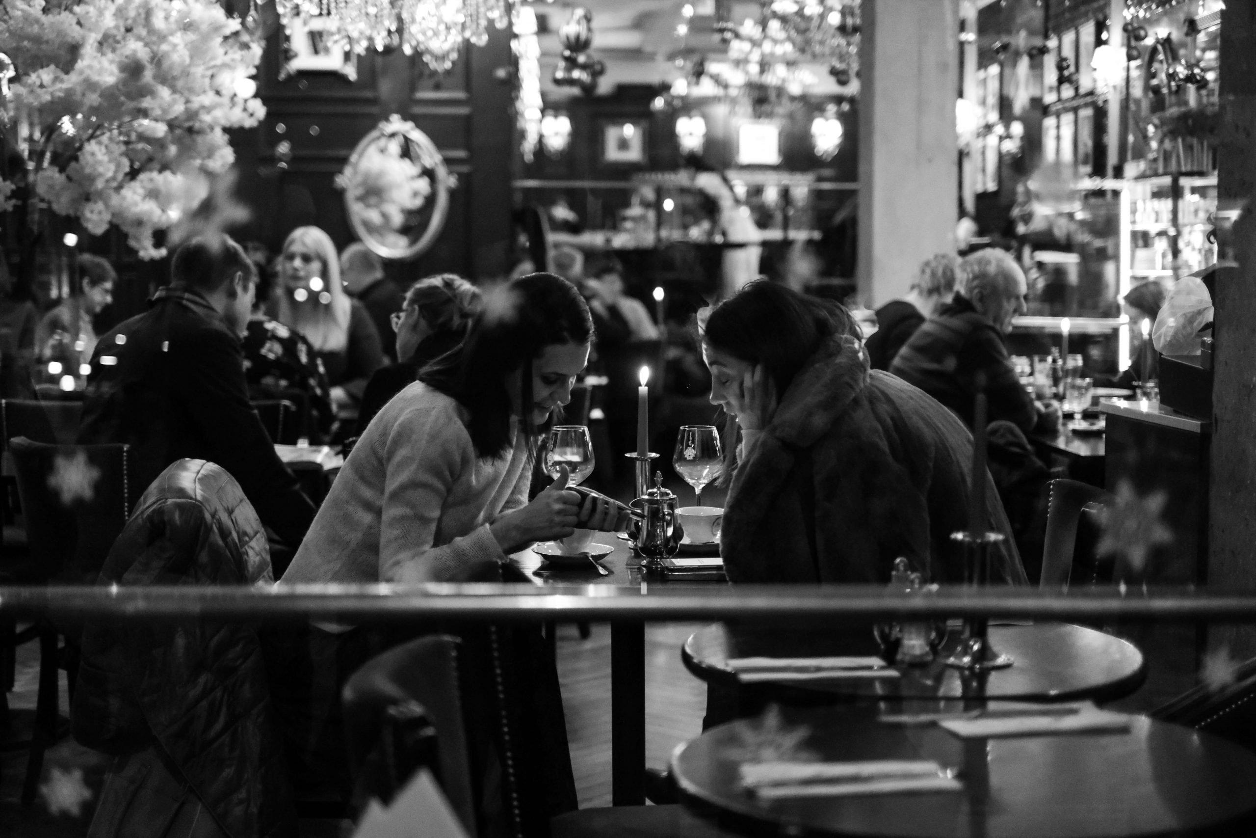 couple sitting in restaurant