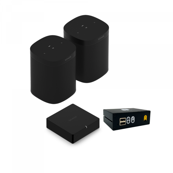 sonos bundle with 2 one sl black, a port and syb player