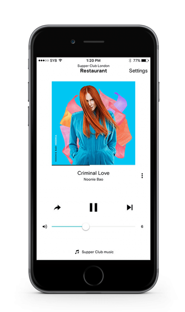 iphone displaying soundtrack your brand remote app