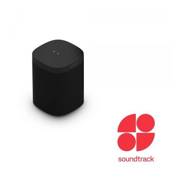 A Sonos One SL speaker in black with Soundtrack Logo