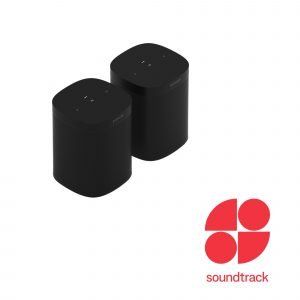 a pair of black Sonos One SL speakers with Soundtrack Logo